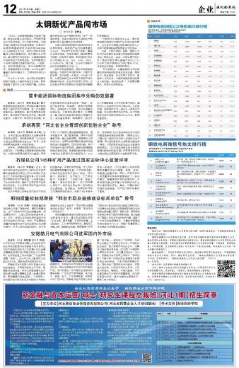 承钢再获河北省企业管理创新优胜企业称号 第